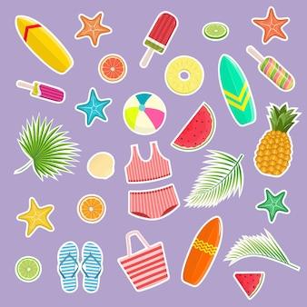 Conjunto de adesivos tropicais. olá verão. elementos de design e impressão. ilustração vetorial.