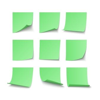 Conjunto de adesivos verdes colados com espaço para texto ou mensagem. ilustração vetorial isolada em fundo branco
