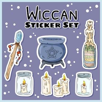 Conjunto de adesivos wiccan
