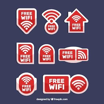 Conjunto de adesivos wifi brancos e vermelhos