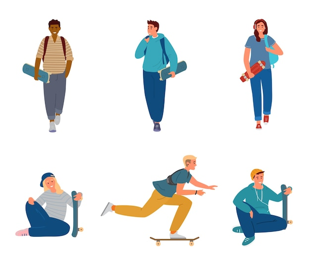Conjunto de adolescentes com scateboards andando, segurando, montando.