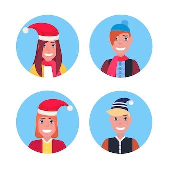 Conjunto de adolescentes sorridentes com chapéu