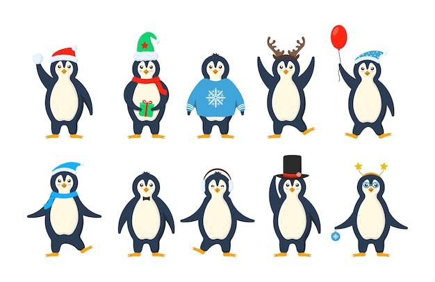 Conjunto de adoráveis pinguins vestindo roupas de inverno e chapéus.