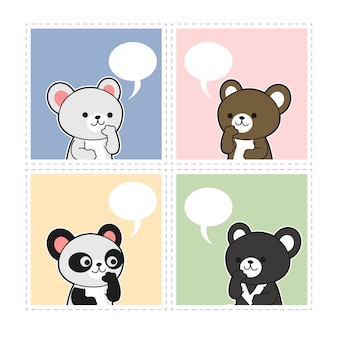 Conjunto de adoráveis ursos bonitos