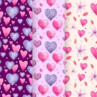 Conjunto de adorável aquarela padrão de dia dos namorados