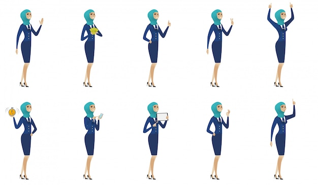 Conjunto de aeromoça jovem muçulmano
