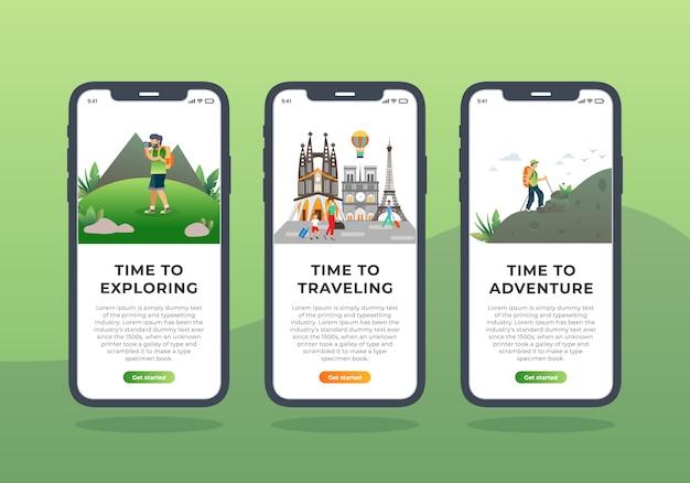 Conjunto de agência de viagens de design de interface do usuário de tela onboarding móvel