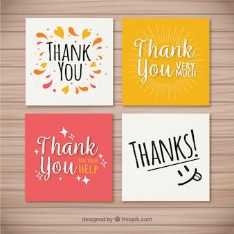 Conjunto de agradáveis cartões de agradecimento