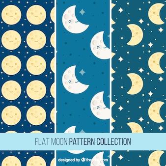 Conjunto de agradáveis padrões luas