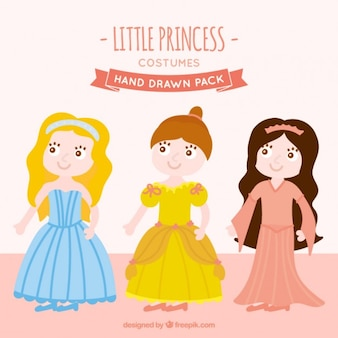 Conjunto de agradáveis três princesa