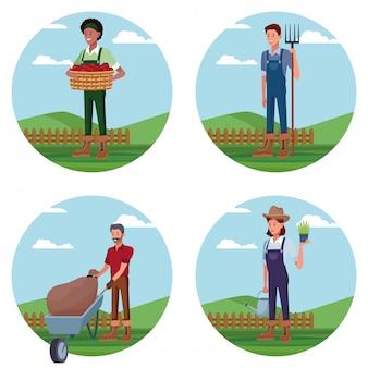 Conjunto de agricultores trabalhando em desenhos animados de fazenda