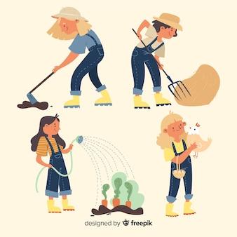 Conjunto de agricultores trabalhando ilustrado