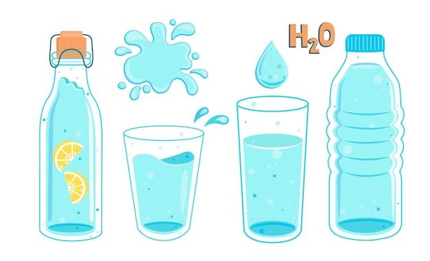 Conjunto de água em garrafas e copos