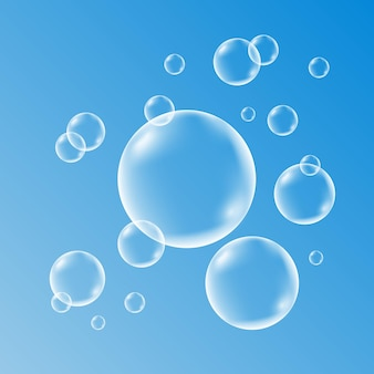 Conjunto de água limpa, sabão, gás ou bolhas de ar
