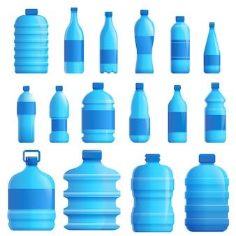 Conjunto de água mineral, estilo cartoon