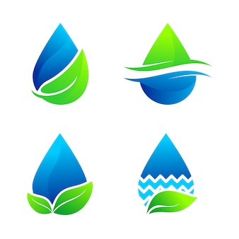 Conjunto de água natureza logo vector