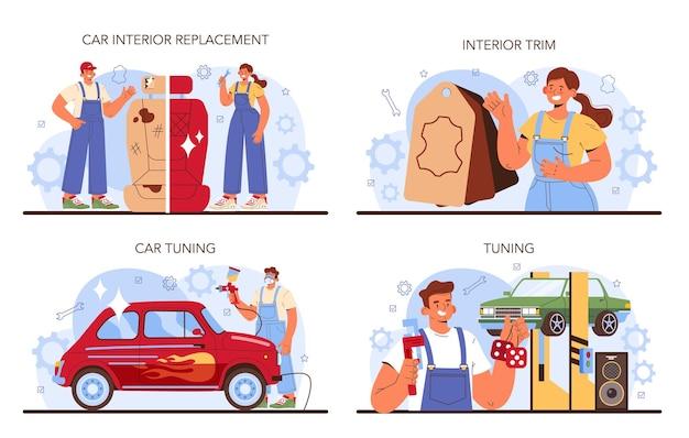 Conjunto de ajuste do carro. o interior do automóvel foi substituído na oficina de automóveis. mecânico