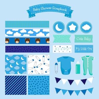Conjunto de álbum de recortes azul para chá de bebê
