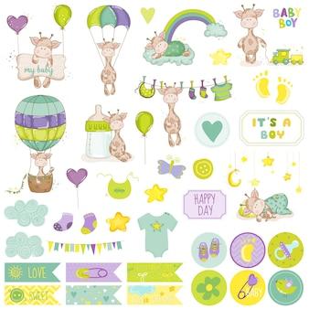 Conjunto de álbum de recortes de girafa bebê