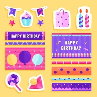 Conjunto de álbum de recortes de planejador de aniversário