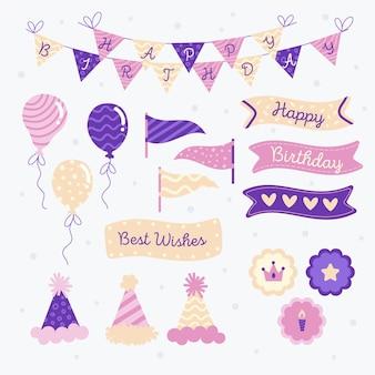 Conjunto de álbum de recortes violeta de feliz aniversário