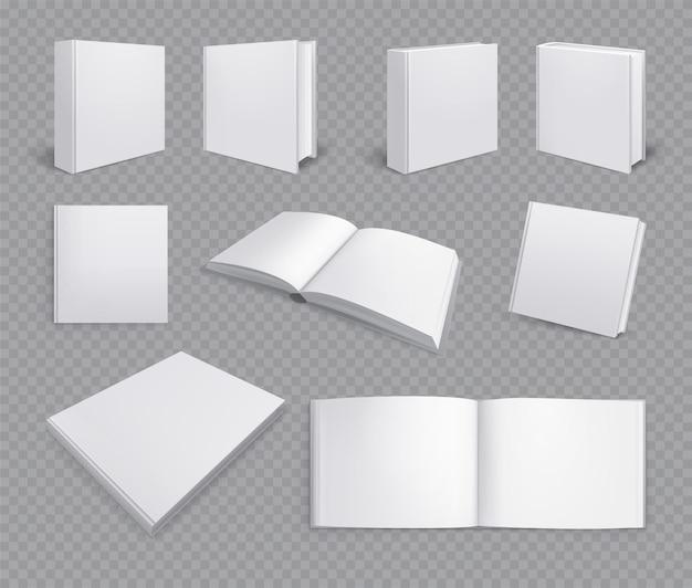 Conjunto de álbuns de livros isolados com imagens realistas transparentes com páginas horizontais pintar caderno