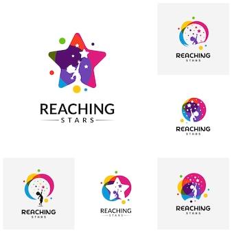 Conjunto de alcançar o modelo de Design de logotipo de estrelas. Logotipo da estrela dos sonhos.