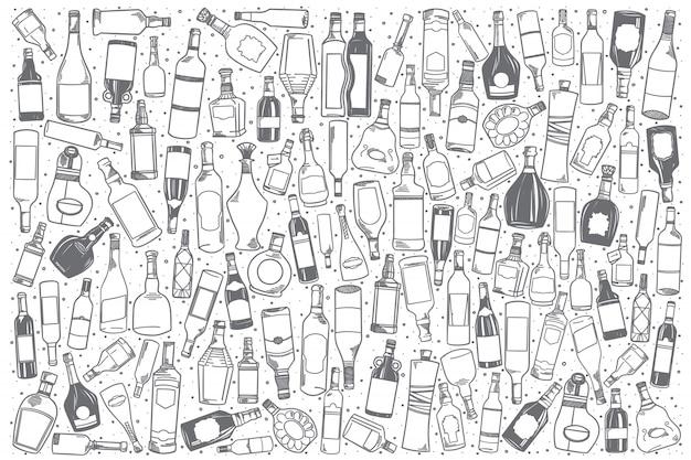 Conjunto de álcool de mão desenhada