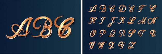 Conjunto de alfabeto brilhante pincel dourado