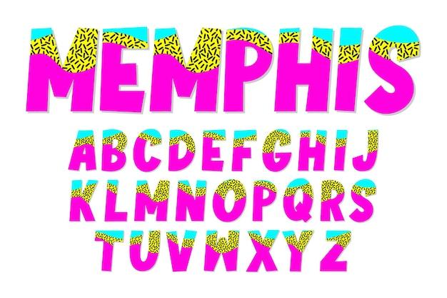 Conjunto de alfabeto com estilo de design memphis