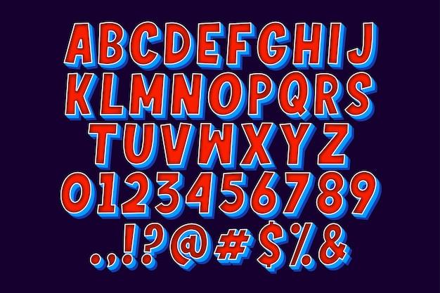 Conjunto de alfabeto cômico de desenho animado