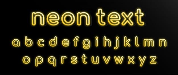 Conjunto de alfabeto de efeitos de texto de néon amarelo