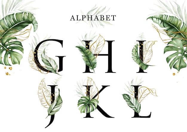 Conjunto de alfabeto de folhas tropicais em aquarela de ghijkl com folhas douradas