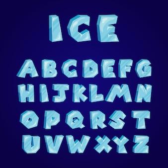 Conjunto de alfabeto de gelo dos desenhos animados
