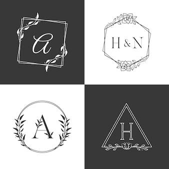 Conjunto de alfabeto de logotipo de monograma de luxo