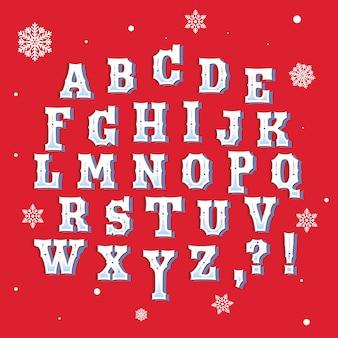 Conjunto de alfabeto de natal vintage