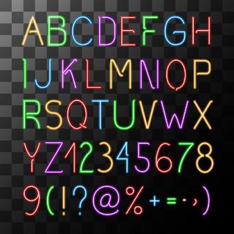 Conjunto de alfabeto de néon