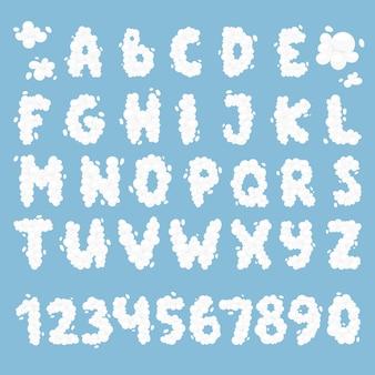 Conjunto de alfabeto de nuvem.