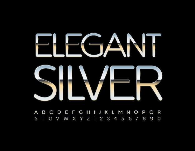 Conjunto de alfabeto de prata elegante fonte metálica brilhante estilo premium letras e números