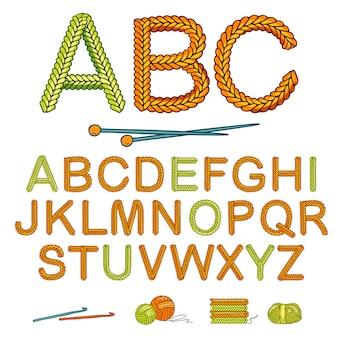 Conjunto de alfabeto de tricô quente