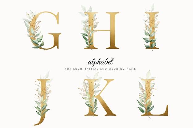 Conjunto de alfabeto dourado em aquarela de ghijkl com folhas douradas para cartões de logotipo com a marca etc.