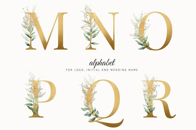Conjunto de alfabeto dourado em aquarela de mnopqr com folhas douradas para cartões de logotipo com a marca etc.