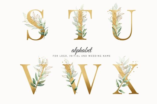 Conjunto de alfabeto dourado em aquarela de stuvwx com folhas douradas para cartões de logotipo com a marca etc.