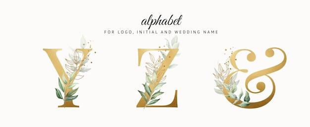 Conjunto de alfabeto dourado em aquarela de yz com folhas douradas para cartões de logotipo com a marca etc.