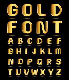 Conjunto de alfabeto dourado.