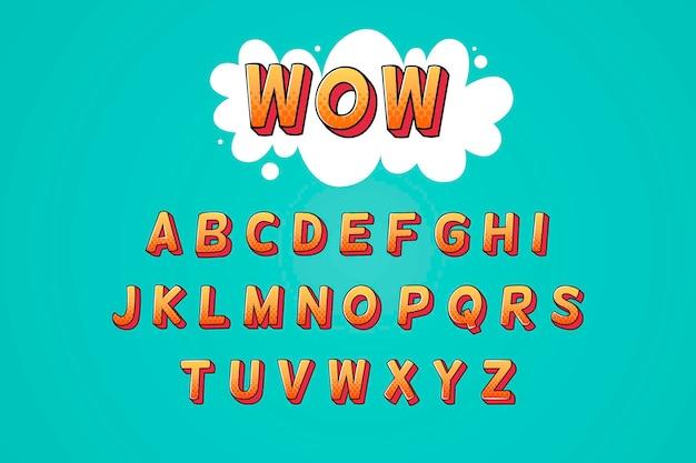 Conjunto de alfabeto em quadrinhos 3d