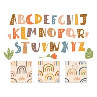 Conjunto de alfabeto escandinavo e padrão sem emenda fofo