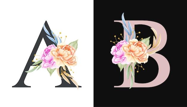 Conjunto de alfabeto floral em aquarela de a, b e com belas flores e folhas