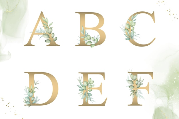 Conjunto de alfabeto floral em aquarela de abcdef com folhagem desenhada à mão