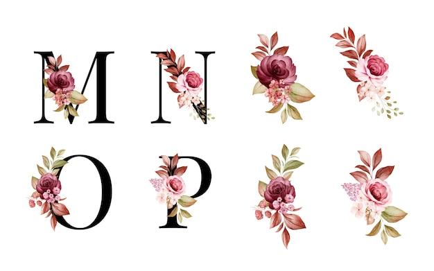 Conjunto de alfabeto floral em aquarela de m, n, o, p com flores vermelhas e marrons e folhas.